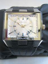 Police Prowler Orologio Pelle Nera Quadrante Argento 12551J NUOVO CON SCATOLA ORIGINALE