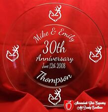 Deer Heads Anniversary Glass Plate Personalized Keepsake