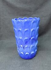 Antique Opaline Glass Blue Vase Ruffled Edge