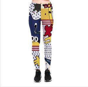 girl leggings Quick-drying Cartoon Geometric Printed Women Legging pant C1021