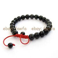 New 8mm Black Agate  Tibet Buddhist Prayer Beads Mala Bracelet--21Beads