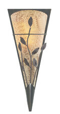 Searchlight 3837 Bronze Leaf Design Wall Light Textured Amber & Frosted Glass