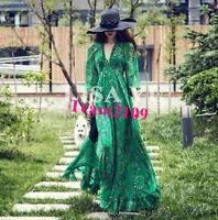 Boho Womens V-neck Chiffon Floral Long Maxi Evening Party Beach Dress Summer SZ