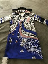 EMILIO PUCCI Zodiac Leo Blue Print Tunic Dress 2015 Runway Collection Sz 38 NEW