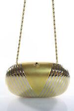 Lisette Gold Silver Tone Metal Push Lock Closure Small Clutch Handbag