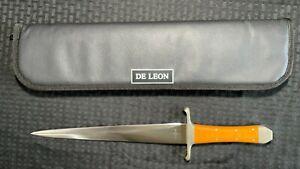 Custom Handmade Stainless Steel Enedino De Leon Dagger Lot#SP18 Wood Handle