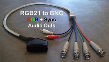 Female RGB21 to 4 BNC + Audio Cable Sony PVM Sega SNES Neo Geo Japanese SCART