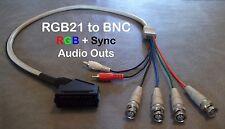 Female RGB21 to 4 BNC + Audio Cable Sony PVM Sega SNES Neo Geo Japanese SCART