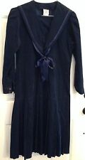 VINTAGE LAURA ASHLEY COTTON CORDUROY Navy SAILOR DRESS SIZE 10 US UK 12 Chest 37