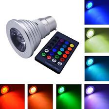 Bombilla de luz Lámpara LED RGB 5W, E14 E27 B22 GU10, 16 Colores + Control Remoto, función de memoria