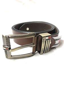 Men's Tommy Hilfiger Brown Leather Belt Size 32 To 34 Waist(uk01356)