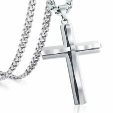 Stainless Steel Cross Necklace Pendant Curb Chain Silver 24 inch Men Unisex
