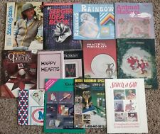 Lot of 13 Stitching, Quilting, Sewing books magazines from 1980's - Vintage Lot