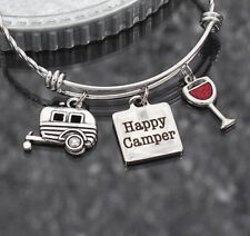 Happy Camper Braided Charm Bracelet Bangle - Silver Plated - Great Gift!