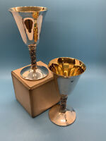 Vintage Valero EPB Wine Goblets Made in Spain Silver Plate (2)