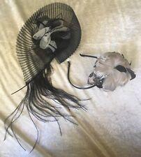 Handmade Black Cream Flower Fascinator + Beige Tan Feather Rose Headband DUO