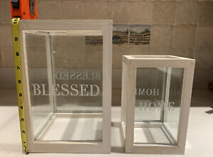 "2 Square wood & glass 10"" & 7.5"" Candle holders Etched w/""Blessed"" & ""Home"""