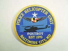 Vintage Police Helicopter Unit Foxtrot Est 1970 Balto Embroidered Iron On Patch