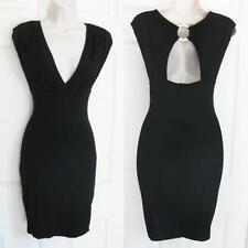 BEBE BLACK ADRIENNE DEEP V MIDI DRESS NWT NEW SMALL S