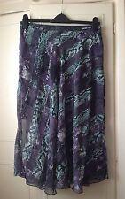 WAREHOUSE Skirt ~ 16 ~ Purple/Turquoise/black mix~ side slash ~ very pretty