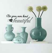 Quote: BE YOUR OWN KIND OF BEAUTIFUL wall sticker decor 6 decals inspirational
