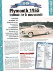 Plymouth 1955 1955 USA Car Auto FICHE FRANCE