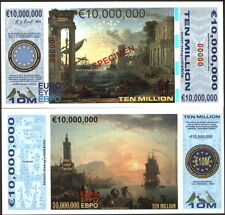 SPECIMEN POLYMER 10 MILLION (10000000) EURO 2015 HARBOR SCENES FANTASY ART NOTE!