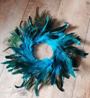 Peacock feather Wreath wall hanging decor peacock blue decoration hand made
