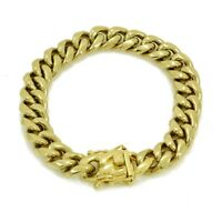 "12mm Men's Cuban Miami Link Bracelet 14k Gold Plated Stainless Steel 8.5"" Long"