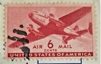 6 CENT US RED AIRMAIL POSTAGE STAMP, TRANSPORTION ISSUE, DUAL PROP, 1941, C25