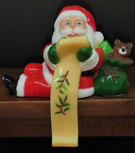 "Vintage Santa Plastic Celluloid Stocking Holder 5"" Tall"