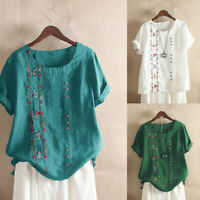 Bohemian Embroidered M-5XL Women Blouse Short Tops Floral Sleeve Cotton T Shirt