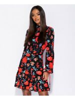 New Womens Black Poppy Floral High Neck Tie Sleeve Wrap Front Ladies Mini Dress
