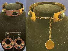 Vintage Lanvin Modernist Cabochon Copper Choker Collar Necklace Hoop Earrings
