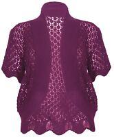 Womens Cerise Knit Bolero Short Sleeve Crop Cardi Shrug Top Ladies *LICK*