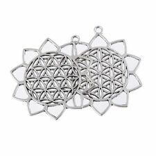 1pcs Filigree Sunflower Beads Charms Tibetan Silver Pendant DIY Necklace 42*46mm