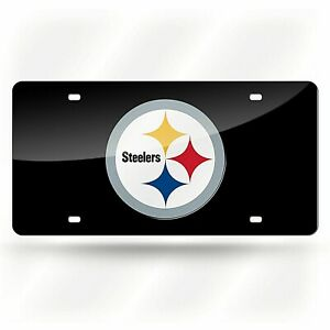 Pittsburgh Steelers NFL Black Laser Tag License Plate