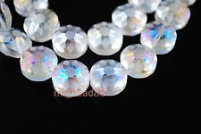 10pcs Clear AB Polish Stardust Flower Crystal Finding Spacer Beads 14mm