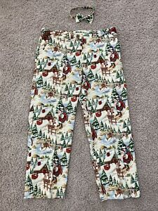 Loudmouth Mens Striped Golf Pants Sz 38 X 30L Santa Holiday Pattern with Bow Tie