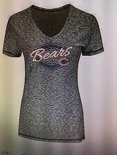 Chicago Bears NFL Women's Gray V-Neck Ribbed Graphic T-Shirt Size Large, NWT