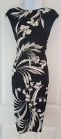 Womens Collection Debenhams Dress size 12 pencil wiggle black white flower party