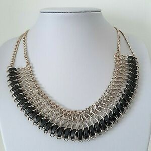 Unbranded Gold Tone Black Faux Leather Trim Collar Bone Necklace - Cleopatra