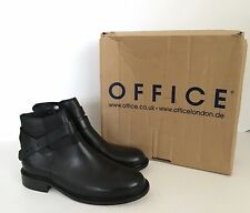 WOMENS OFFICE LONDON GINGER STRAP BLACK LEATHER SMART ANKLE BOOTS - UK 8 EU 41