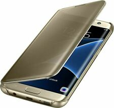 Samsung Galaxy S7 Semi-Opaque Smart Clear View Flip Notification Case Cover Gold