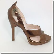 Playboy Burnished Gold Sexy Strappy Heels Shoes 5.5