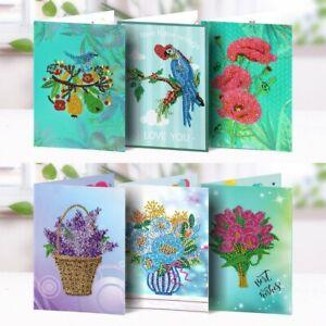 6Pcs 5D Diamond Painting Flower Bird Greeting Card Postcards Special Style Art