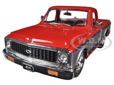 1972 CHEVROLET CHEYENNE PICKUP TRUCK RED/SILVER 1/24 DIECAST MODEL JADA 96865