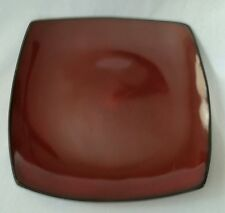 """SET OF 4 GIBSON SOHO LOUNGE RED SQUARE DINNER PLATES 10 5/8"""""""
