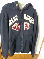 ABERCROMBIE KIDS SIZE L BLUE FULL ZIP HOODED SWEATSHIRT FOOTBALL THEME #81C