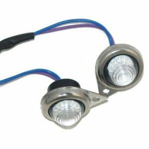 Fits Royal Enfield Classic Blue LED Light Pilot Lamp Set+Chrome Rim ECs
